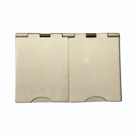 2 Gang 13A Unswitched Floor Socket in Satin Nickel Elite Flat Plate with White or Black Plastic Trim