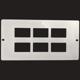Data/Voice Plate 6 x RJ45 in Grey for a 3 Compartments Floor Box FLOORBOX, 185 x 95mm