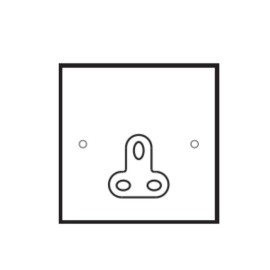 1 Gang 5A Unswitched Single Round Pin Socket in Stainless Steel Plate with Plastic Insert