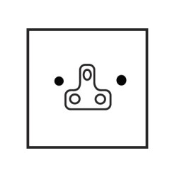 1 Gang 5A Unswitched Round Pin Single Socket in Aged Brass Plate with White Insert by Forbes and Lomax
