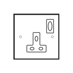 1 Gang 13A Switched Single Socket in Aged Brass Plate with White Insert and Rocker by Forbes and Lomax