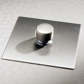 1 Gang 200W Halogen / 0-120W Trailing Edge Rotary LED Dimmer Stainless Steel Plate and Knob (Trailing Edge)