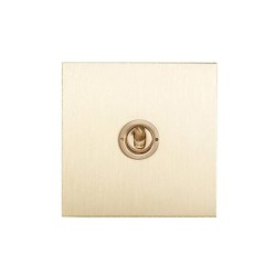 1 Gang 2 Way 20A Dolly Switch Brushed Brass Plate and Dolly from Forbes and Lomax