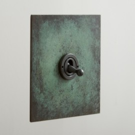 1 Gang Intermediate Dolly Switch Verdigris Plate and Toggle Switch from Forbes and Lomax