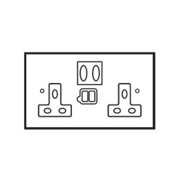 2 Gang 13A Socket with 2 x USB Charger Socket Brushed Brass Plate with Black Plastic Insert and Rocker by Forbes and Lomax