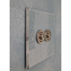 2 Gang Momentary Switch Invisible Plate with Nickel Button, Forbes and Lomax Double Button Dimmer Controller