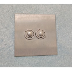 2 Gang Momentary Switch Stainless Steel Plate and Button, Forbes and Lomax Double Button Dimmer Controller