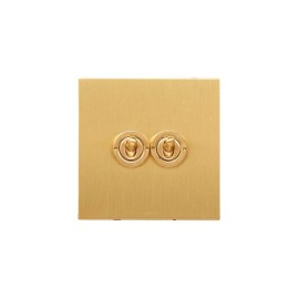 2 Gang 20A 2 Way Dolly Switch in Brushed Brass Flat Plate from Forbes and Lomax
