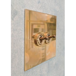 2 Gang 20A Intermediate Dolly Switch in Unlacquered Brass Plate and Dolly from Forbes and Lomax