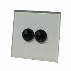 2 Gang 20A 2 Way Dolly Switch Invisible Plate and Antique Bronze Dolly from Forbes and Lomax
