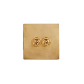 2 Gang 20A 2 Way Dolly Switch in Aged Brass Flat Plate from Forbes and Lomax