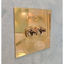 2 Gang 20A 2 Way Dolly Switch in Unlacquered Brass Flat Plate from Forbes and Lomax