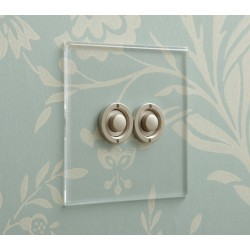 2 Gang Momentary Switch Invisible Plate with Stainless Steel button, Double Button Dimmer Controller