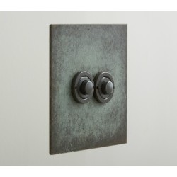 2 Gang Momentary Switch in Verdigris, Double Button Dimmer Controller from Forbes and Lomax