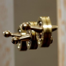 3 Gang 20A 2 Way Dolly Switch in Unlacquered Brass Plate and Toggle Switch from Forbes and Lomax