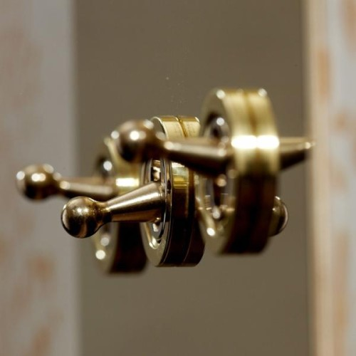 3 Gang 20A Dolly Switch: 2 x 2 Way and 1 x Intermediate Dolly Switch in Unlacquered Brass Plate and Dolly