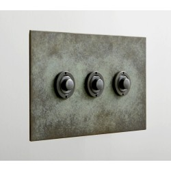 3 Gang Momentary Switch Verdigris Plate and Button Dimmer, 3 Button Dimmer Controller