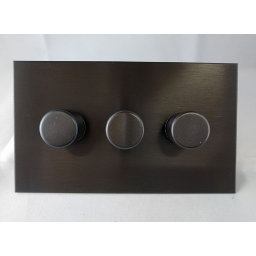 3 Gang LED Dimmer Antique Bronze Plate and Knob: 3 Gang 200W Halogen / 3 x 0-120W Trailing Edge Rotary LED Dimmer