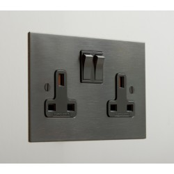 2 Gang 13A Switched Socket in Antique Bronze Plate and Black Rocker from Forbes and Lomax