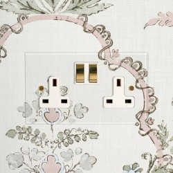 2 Gang 13A Switched Socket in Invisible Plate with Brass Rocker and a White or Black Plastic Insert