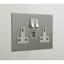 2 Gang 13A Socket with 2 x USB Charger Socket Stainless Steel Plate and Rocker with White Plastic Insert