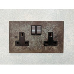2 Gang 13A Switched Double Socket Verdigris Plate and Rocker with Black Insert