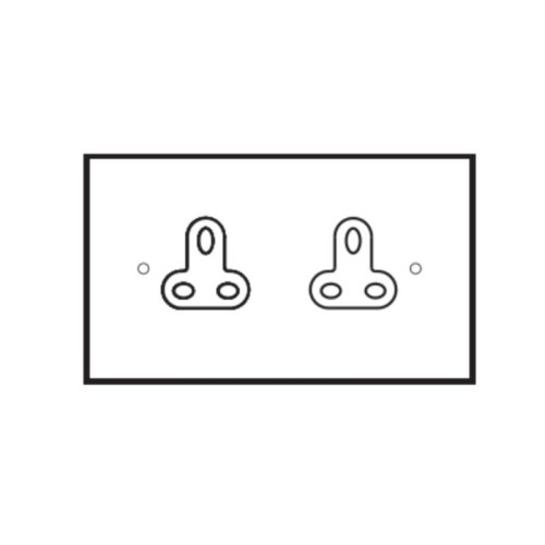 2 Gang 2A Unswitched Double Socket in Brushed Brass Plate and Black Insert by Forbes and Lomax