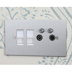 TV Quad Invisible Plate (TV + FM + SAT1 + SAT2 - two down leads) + choice of 2 x Combo Inserts (ordered separately)
