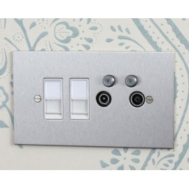 TV Quad Painted Plate (TV + FM + SAT1 + SAT2 - two down leads) + choice of 2 x Combo Inserts (ordered separately)