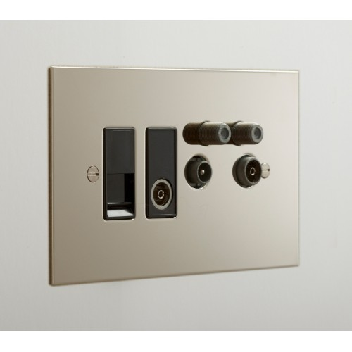 TV Quad Nickel Silver Plate (TV + FM + SAT1 + SAT2 - two down leads) + choice of 2 x Combo Inserts (ordered separately)