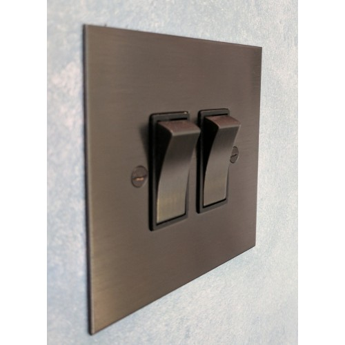 2 Gang 2 Way 20AX Rocker Switch in Antique Bronze Plate and Rocker and Black Trim