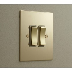 2 Gang 2 Way 20AX Rocker Switch in Nickel Silver Plate and Rocker and Plastic Trim