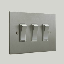 3 Gang 2 Way Rocker Switch in Nickel Silver Plate and Rocker and Plastic Trim