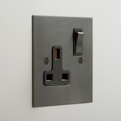 1 Gang 13A Switched Single Socket in Antique Bronze Plate with Black Insert and Rocker