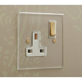 1 Gang 13A Switched Single Socket in Invisible Plate with Brass Rocker and Plastic Insert