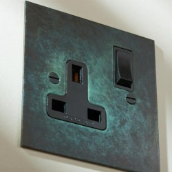1 Gang 13A Switched Single Socket in Verdigris Plate with Black Rocker and Trim