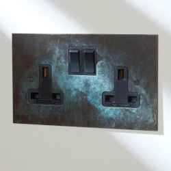 2 Gang 13A Switched Double Socket in Verdigris with Black Rocker from Forbes and Lomax
