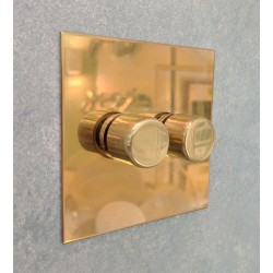 2 Gang Push ON/OFF Rotary Switch in Unlacquered Brass Plate and Knob from Forbes and Lomax