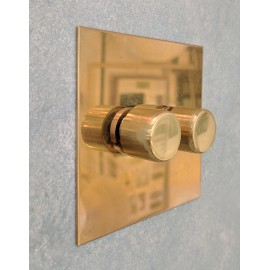 2 Gang 200W Halogen / 2 x 0-120W Trailing Edge Rotary LED Dimmer Unlacquered Brass Plate and Knob