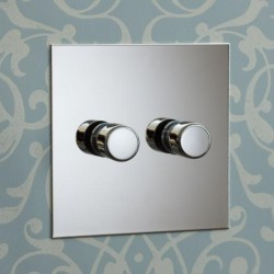 2 Gang 200W Halogen / 2 x 0-120W Trailing Edge Rotary LED Dimmer Nickel Silver Plate and Knob