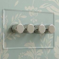 4 Gang Push On/Off Rotary Switch on Double Plate Invisible Plate with Nickel Knob