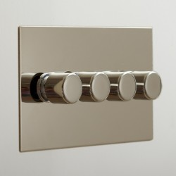 4 Gang Push On/Off Rotary Switch on Double Plate Nickel Silver Plate and Knob
