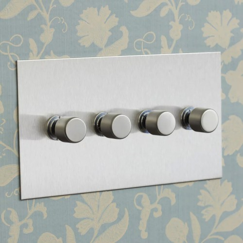 4 Gang Push On/Off Rotary Switch on Double Plate Stainless Steel Plate and Knob