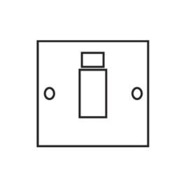 1 Gang Cooker Switch 45A with Neon Indicator Painted Plate White Trim from Forbes and Lomax