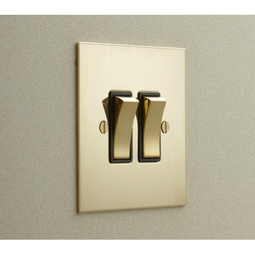 2 Gang 2 Way 20AX Rocker Switch in Unlacquered Brass Plate and Rocker with Plastic Trim