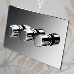 3 Gang LED Dimmer Nickel Silver Plate and Knob: 3 Gang 200W Halogen / 3 x 0-120W Trailing Edge Rotary LED Dimmer