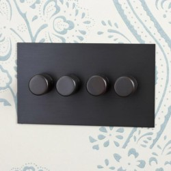 4 Gang LED Dimmer Antique Bronze Plate and Knobs: 4 Gang 200W Halogen / 4 x 0-120W Trailing Edge Rotary LED Dimmer
