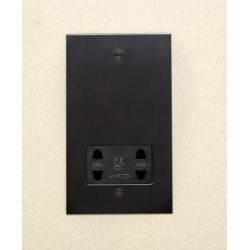 1 Gang Dual Voltage Shaver Socket in Antique Bronze Plate with Black Insert from Forbes and Lomax