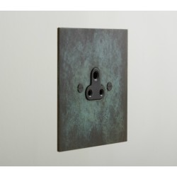 1 Gang 5A Unswitched Single Round Pin Socket in Verdigris Finish with Black Insert