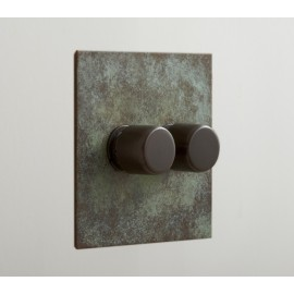 2 Gang 400W Loading Rotary Dimmer in Verdigris Plate and Knob from Forbes and Lomax